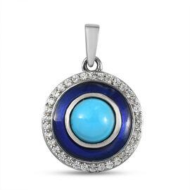 Arizona Sleeping Beauty Turquoise and Natural Cambodian Zircon Enamelled Circle Pendant in Platinum