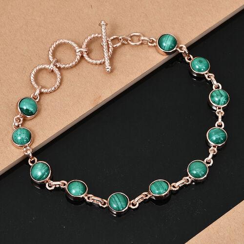 Designer Inspired- Malachite Adjustable Bracelet (Size 7.5) in Rose Gold Tone 13.750  Ct.