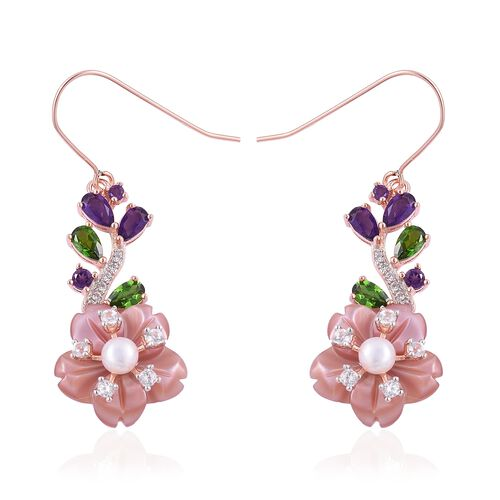 JARDIN COLLECTION - Pink Mother of Pearl (15mm) and Multi Gemstones Hook Earrings in Rose Gold and Rhodium with Enameled Overlay Sterling Silver