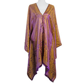 Designer Inspired-Purple and Beige Colour Floral and Paisley Pattern Poncho (Size 90x90 Cm)