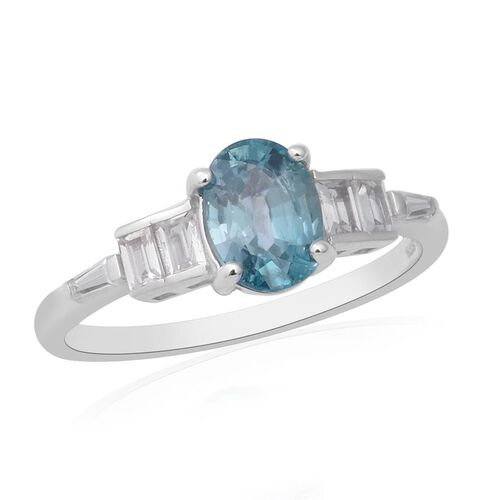 Ratanakiri Blue Zircon and Zircon Solitaire Ring in Rhodium Plated Sterling Silver