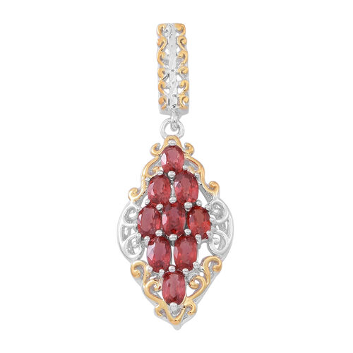 Very Rare Red Sapphire (Ovl) Pendant in Rhodium and Gold Overlay Sterling Silver 2.750 Ct.