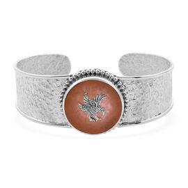 Royal Bali Collection - Orange Jade Garuda Cuff Bangle (Size 7.5) in Sterling Silver 6.00 Ct, silver
