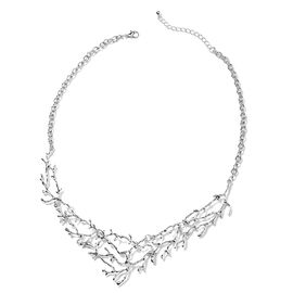 Designer Inspired- Silver Plated Tree Branch Necklace (Size 20 with 2.5 Inch Extender)