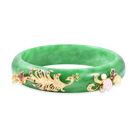 292.84 Ct Green Jade and Multi Gemstone Peacock and Floral Bangle 5.04 Grams 7.25 Inch