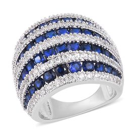 Simulated Blue Sapphire (Rnd), Simulated Diamond Ring in Silver Plated