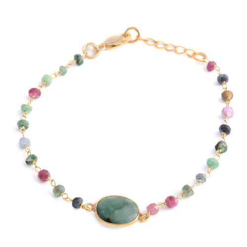 Designer Inspired-Brazilian Emerald (Ovl 3.00 Ct), Multi Sapphire Beads Bracelet (Size 7 with 1 inch Extender) in Yellow Gold Overlay Sterling Silver 5.000 Ct.