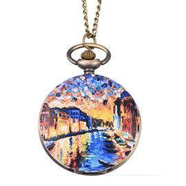 STRADA Japanese Movement Water Resistant Ancient Water Town Pattern Pocket Watch with Chain