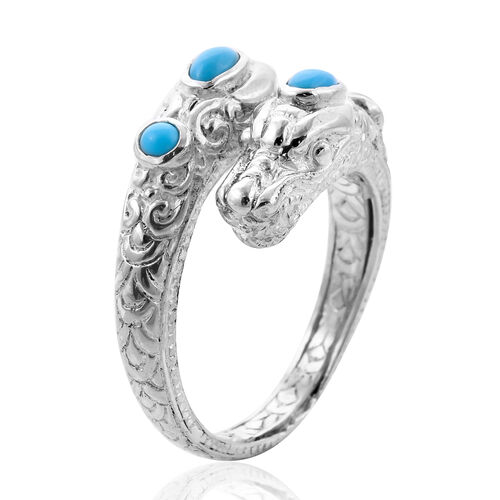Arizona Sleeping Beauty Turquoise Dragon Head Ring in Sterling Silver, Silver wt 7.20 Gms