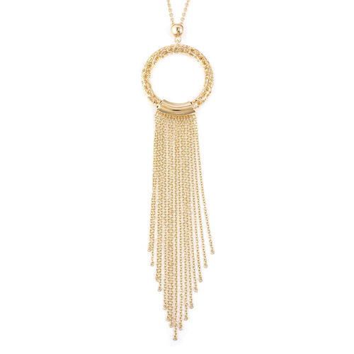RACHEL GALLEY Allegro Tassel Pendant with Chain in Gold Plated Silver 20.02 Grams Size 30 Inch