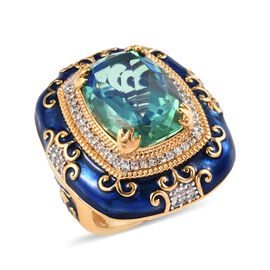 GP Peacock Quartz (Cush 16x12 mm), Natural Cambodian Zircon and Blue Sapphire Enamelled Ring in Plat