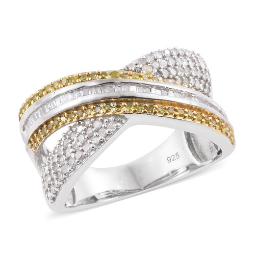 Yellow Diamond (Rnd), White Diamond Criss Cross Ring in Platinum and Gold Overlay Sterling Silver 1.