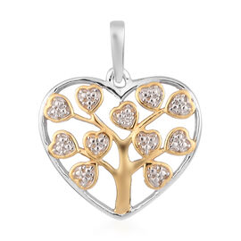 Diamond Tree-of-Life in Heart Pendant in Platinum and Yellow Gold Overlay Sterling Silver
