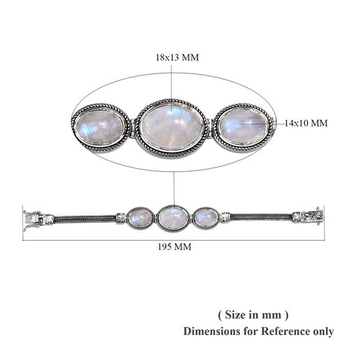 Tucson Special - Artisan Crafted- Rainbow Moonstone (Ovl) Bracelet (Size 7.5) in Sterling Silver 27.50 Ct, Silver wt 18.60 Gms