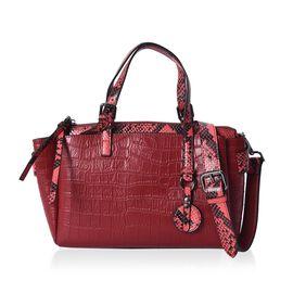 100% Genuine Leather Croc Embossed Tote Bag with Snake Skin Pattern Removable Shoulder Strap (Size 2