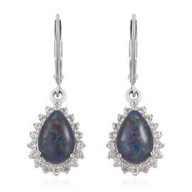 Australian Boulder Opal (Pear), Natural White Cambodian Zircon Lever Back Earrings in Platinum Overlay Sterling Silver