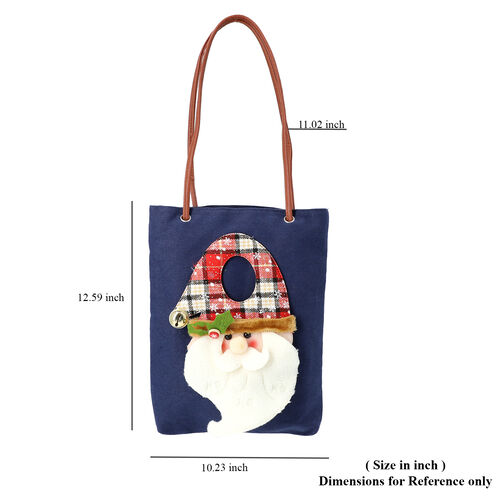 Christmas Collection - 3D Santa Tote Bag - Size 26x32cm - Navy