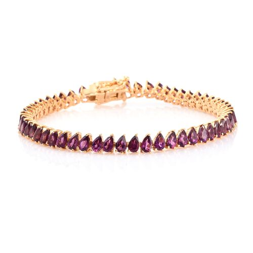 Rhodolite Garnet (Pear) Bracelet (Size 7.5) in 14K Gold Overlay Sterling Silver 14.000 Ct. Silver wt. 10.00 Gms.