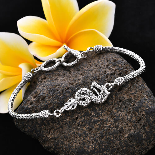 Royal Bali Collection - Sterling Silver Dragon Tulang Naga Toggle Bar Bracelet (Size 7.5 with Extender), Silver wt 13.15 Gms