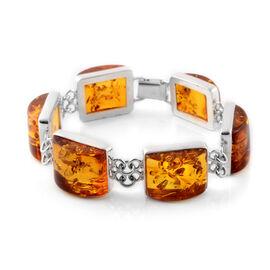 Baltic Amber Bracelet (Size 8) in Sterling Silver, Silver wt 20.00 Gms