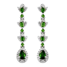 Russian Diopside (Pear), Natural Cambodian Zircon Dangle Earrings in Platinum Overlay Sterling Silver 2.000 Ct.