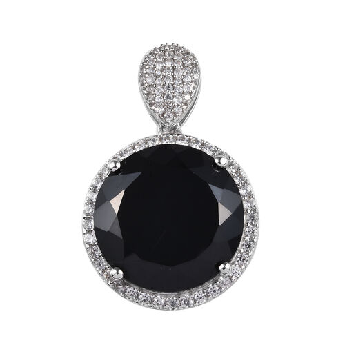 40.75 Ct Natural Boi Ploi Black Spinel and Zircon Halo Pendant in Platinum Plated Sterling Silver