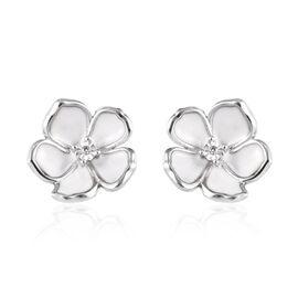 Diamond (Rnd) Enamelled Jasmine Flower Stud Earrings (with Push Back) in Platinum Overlay Sterling S