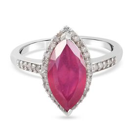 African Ruby (FF) and Diamond Ring in Platinum Overlay Sterling Silver 4.48 Ct.