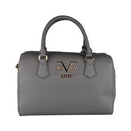 19V69 ITALIA by Alessandro Versace Litchi Pattern Tote Bag with Detachable Shoulder Strap and Zipper Closure (Size 29x15x18 Cm) - Grey