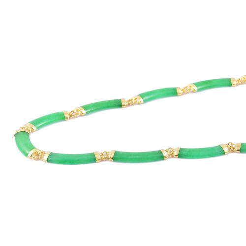 Limited Edition Luxury Collarette-Green Jade Chinese Symbol (Good Luck and Fortune) Necklace (Size 18) in Yellow Gold Overlay Sterling Silver 90.000 Ct.