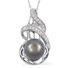 Tahitian Pearl (Rnd 10-10.5mm), Natural White Cambodian Zircon Pendant with Chain (Size 18) in Rhodi