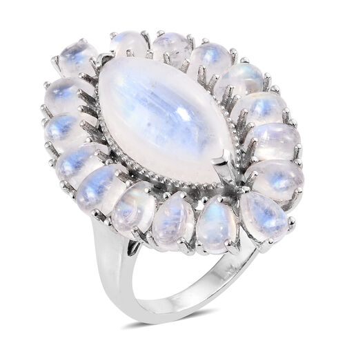 Sri Lankan Rainbow Moonstone (Mrq 8.25 Ct) Ring in Platinum Overlay Sterling Silver 17.000 Ct. Silver wt 7.79 Gms.