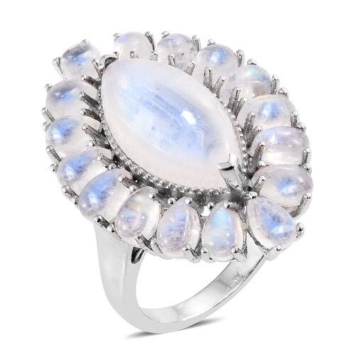 Sri Lankan Rainbow Moonstone (Mrq 8.25 Ct) Ring in Platinum Overlay Sterling Silver 17.000 Ct. Silve