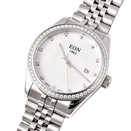 EON 1962 Swiss Movement 5ATM Water Resistant Watch with White Moissanite Embellishments, Mother of Pearl Dial and Stainless Steel Strap