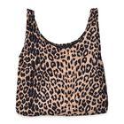 Leopard Pattern Velvet Shopping Bag (Size 41x32 Cm) - Brown