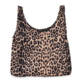 Leopard Pattern Velvet Shopping Bag (Size 41x32 Cm) - Brown