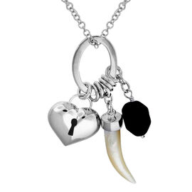 Italian Made-Sterling Silver Heart Lock and Tooth Charm Necklace (Size 24), Silver wt 16.00 Gms.