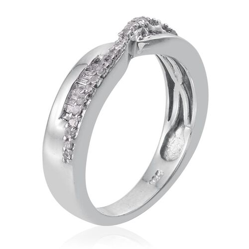Diamond Criss Cross Ring in Platinum Overlay Sterling Silver 0.25 Ct.