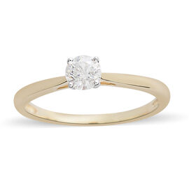 9K Yellow Gold Diamond (Rnd) Solitaire Ring 0.500 Ct.