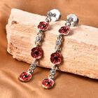 Multi Colour Austrian Crystal Enamelled Poppy Dangle Earrings (with Push Back) in Silver Tone
