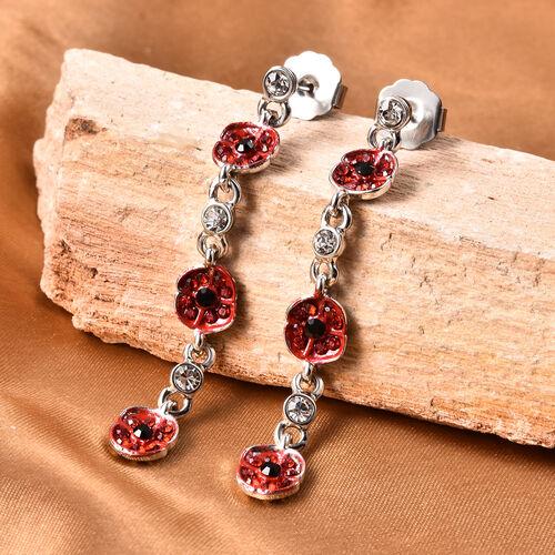 TJC Poppy Design - Multi Colour Austrian Crystal Enamelled Poppy Dangle Earrings (with Push Back) in
