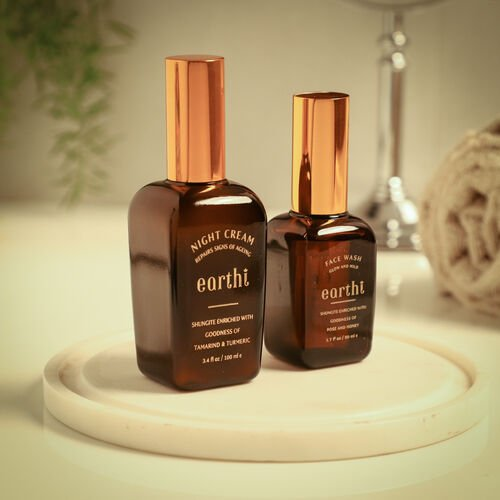Shungite Enriched Earthi Tamarind and Turmeric Reviving Night Cream with Complementary Rose Face Wash (100ml+50ml)
