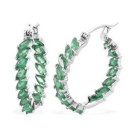 4.25 Ct AA Kagem Zambian Emerald Hoop Earrings in Platinum Plated Silver 5.92 grams