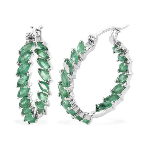 4.25 Ct AA Kagem Zambian Emerald Hoop Earrings in Platinum Plated Silver 5.92 grams