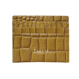 Assots London FANN Croc Embossed Genuine Leather RFID Credit Card Holder (Size 10.8.5cm) - Mustard