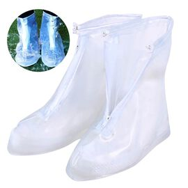 Pair of Waterproof Rain / Mud / Shoe Cover with Zipper Closure and Antislip Sole (Size L - 3 to 7)