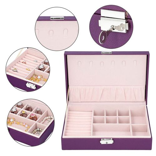 Multi Compartment Jewellery Box in Purple (28x18.5x6.5cm)