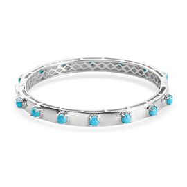 Arizona Sleeping Beauty Turquoise Bangle (Size 7) in Platinum Overlay Sterling Silver 3.69 Ct, Silve