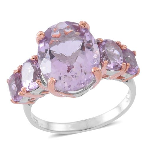 Rose De France Amethyst (Ovl 8.75 Ct) 5 Stone Ring in Rhodium and Rose Gold Plated Sterling Silver 1