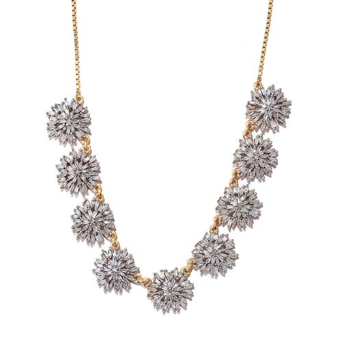 Designer Inspired - Firecracker Diamond (Rnd) Adjustable Necklace with Chain (Size 18 and 2 inch Extender) in 14K Gold Overlay Sterling Silver 2.006 Ct. Number of Diamonds 333 Silver wt 7.91 Gms.